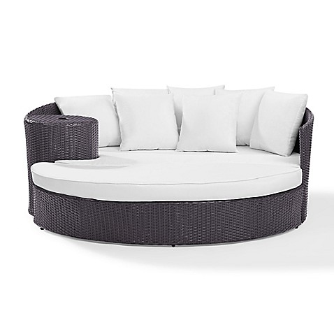 Crosley Biscayne Resin Wicker Outdoor Daybed with Cushions in White