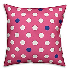 image of Polka Dot Square Throw Pillow in Pink