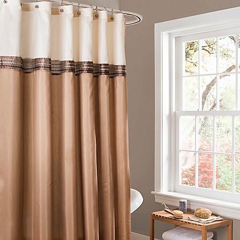 Buy Lush D 233 Cor Terra Stripe Shower Curtain In Beige Ivory