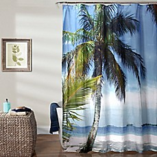 image of Lush Decor 70-Inch x 72-Inch Beach Palm Tree Shower Curtain in Blue/Green