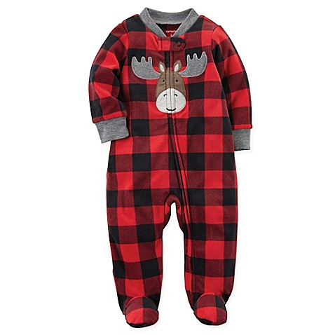 Carter S 174 Buffalo Check Moose Fleece Footie Pajama In Red