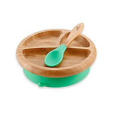 image of Avanchy Bamboo + Silicone Suction Infant Plate + Spoon in Green