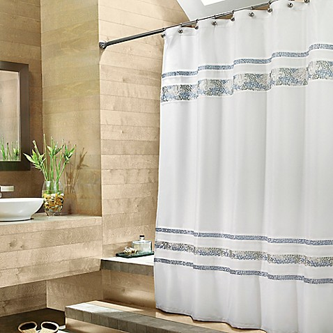 Croscill® Spa Tile 72-Inch x 84-Inch Fabric Shower Curtain in White ...