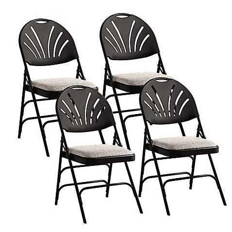 Samsonite 174 Fan Back Xl Folding Chairs In Black Grey Set