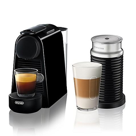 buy nespresso by delonghi essenza mini espresso machine with aeroccino in black from bed bath. Black Bedroom Furniture Sets. Home Design Ideas