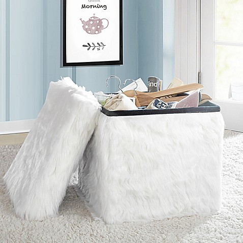 Image Of Mongolian Fur Collapsible Storage Cube In White