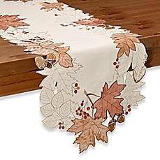 image of sam hedaya burwell leaf cutwork table runner in ivory