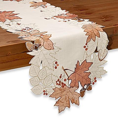 Sam Hedaya Burwell Leaf Cutwork Table Runner In Ivory