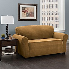 image of Basketweave Stretch Sofa Slipcover