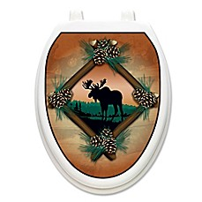 image of Toilet Tattoos® Moose at Sunset Decorative Applique for Elongated Toilet Lids
