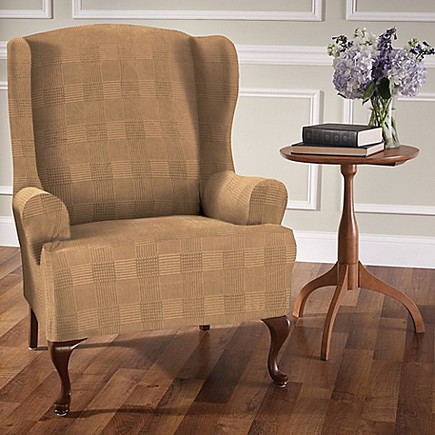 Stretch Plaid Wingback Chair Slipcover Bed Bath Amp Beyond