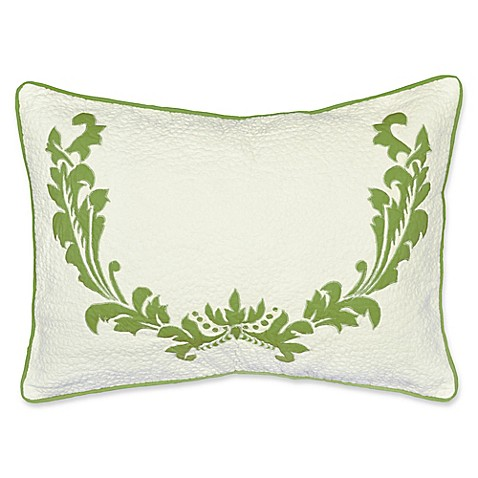 Buy Amity Home Damask Bolster Throw Pillow in White/Green from Bed Bath & Beyond