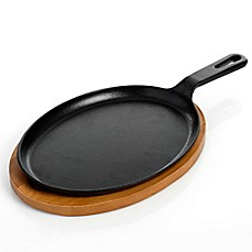 image of Artisanal Kitchen Supply® Pre-Seasoned Cast Iron Fajita Pan with Wooden Tray in Black