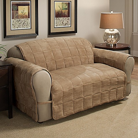Buy ultimate faux suede xl sofa protector in camel from for Ultimate sofa bed