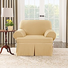 Image Of SUREFIT Cotton Canvas T Cushion Chair Slipcover In Maize Natural