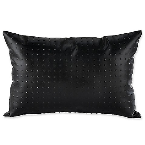 Throw Pillows Faux Leather : Carrara Faux Leather Oblong Throw Pillow in Black - Bed Bath & Beyond