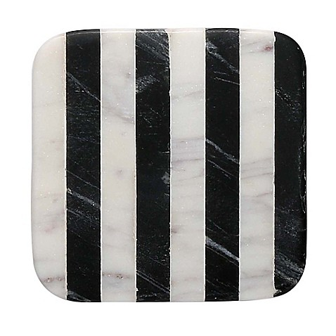 buy thirstystone striped marble single square coaster in black and white from bed bath beyond. Black Bedroom Furniture Sets. Home Design Ideas