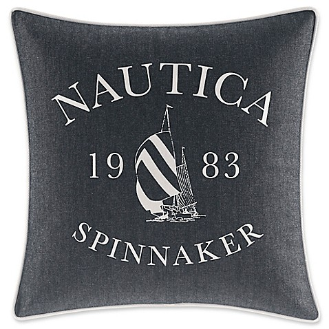 Nautica Decorative Pillows Navy : Nautica Heritage Logo Square Throw Pillow in Navy - Bed Bath & Beyond