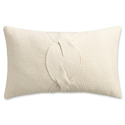 Isaac Mizrahi Home Addie Knit Oblong Throw Pillow In Ivory