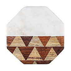 image of Thirstystone® Octagonal Marble/Parquet Wood Coasters (Set of 4)