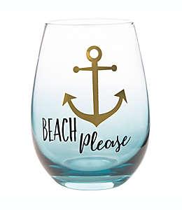 """Copa sin tallo con frase """"Beach Please"""" Formations® en azul"""