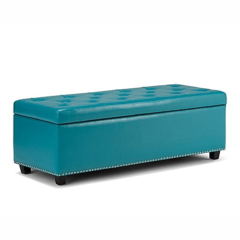 Buy Simpli Home Hamilton Bonded Leather Storage Bench In Mediterranean Blue From Bed Bath Beyond