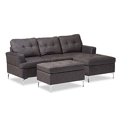 Buy Baxton Studio Riley 3 Piece Sectional Sofa with Ottoman in Grey from Bed Bath & Beyond
