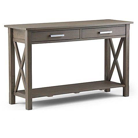 buy simpli home kitchener console sofa table in farmhouse