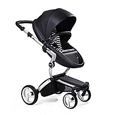 image of Mima Xari Aluminum Chassis Stroller in Black/Black & White Stripes