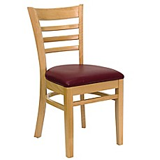 image of Flash Furniture Wood Ladder Back Chairs with Burgundy Vinyl Seats