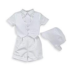 image of Satin Christening Pant & Vest Set by Lauren Madison