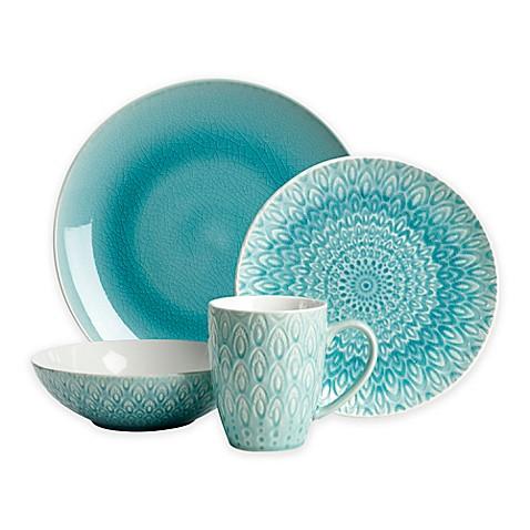 Euro Ceramica Peacock 16 Piece Dinnerware Set In Turquoise