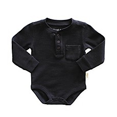 image of Planet Cotton® Thermal Henley Bodysuit in Black