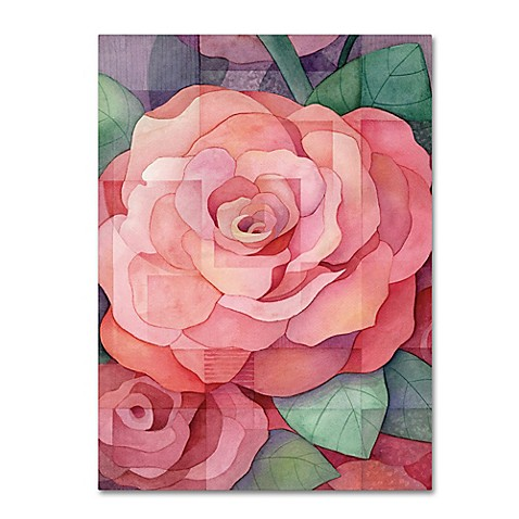 Rose Canvas Wall Art in Pink - Bed Bath & Beyond