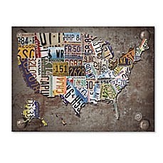 image of USA License Plate Map Canvas Wall Art