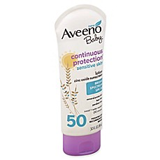 image of Aveeno Baby® Continuous Protection® 3 fl. oz. SPF 50 Sunscreen Lotion for Sensitive Skin