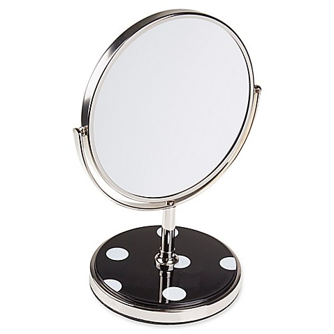 Kate spade new york deco dot vanity mirror in black bed for Mirror spades
