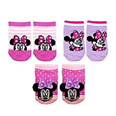 image of Disney Baby® 3-Pack Minnie Rattle Pom Quarter Socks in Pink