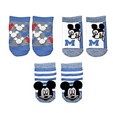 image of Disney Baby® 3-Pack Mickey Rattle Pom Quarter Socks in White
