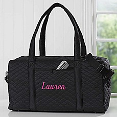 image of Embroidered Quilted Duffel Bag in Black