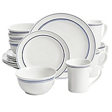 image of Gibson Home Porto 32-Piece Dinnerware Set in  Blue
