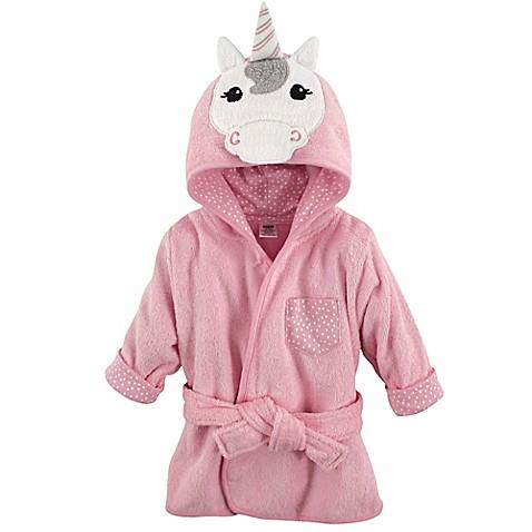 Hudson Baby 174 Unicorn Bathrobe In Pink White Bed Bath