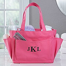 image of Pink Perfection Embroidered Initials Shower Caddy