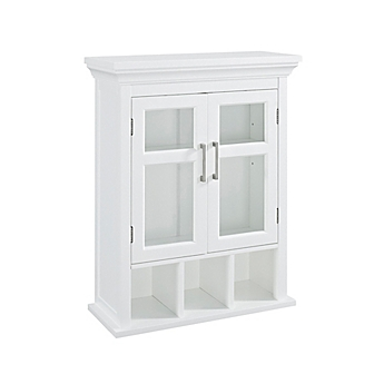 Image Of Simpli Home Avington 10 Inch Wall Cabinet With Cubbies In White