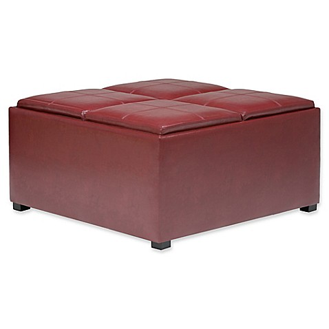buy simpli home avalon faux leather coffee table storage ottoman in red from bed bath beyond. Black Bedroom Furniture Sets. Home Design Ideas
