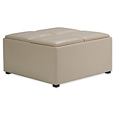 Image Of Simpli Home Avalon Faux Leather Coffee Table Storage Ottoman