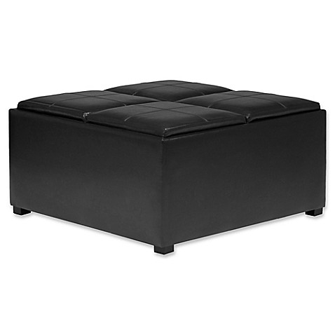 Buy Simpli Home Avalon Faux Leather Coffee Table Storage Ottoman In Black From Bed Bath Beyond