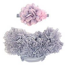image of So'dorable Headband and Ruffled Diaper Cover Set in Grey