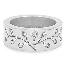 image of Piatella™ Stainless Steel Cubic Zirconia Ladies' Tree of Life Ring