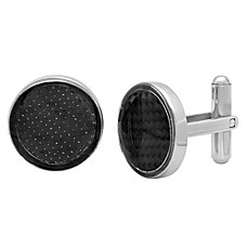 image of Steeltime™ Stainless Steel and Black Carbon Fiber Inlay Cufflinks